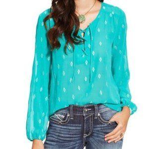 Ariat Turquoise Peasant Style Blouse EUC